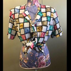 Vintage fun patterned button down blouse